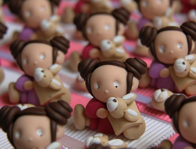 Boîtes à dragées filles et leurs doudous