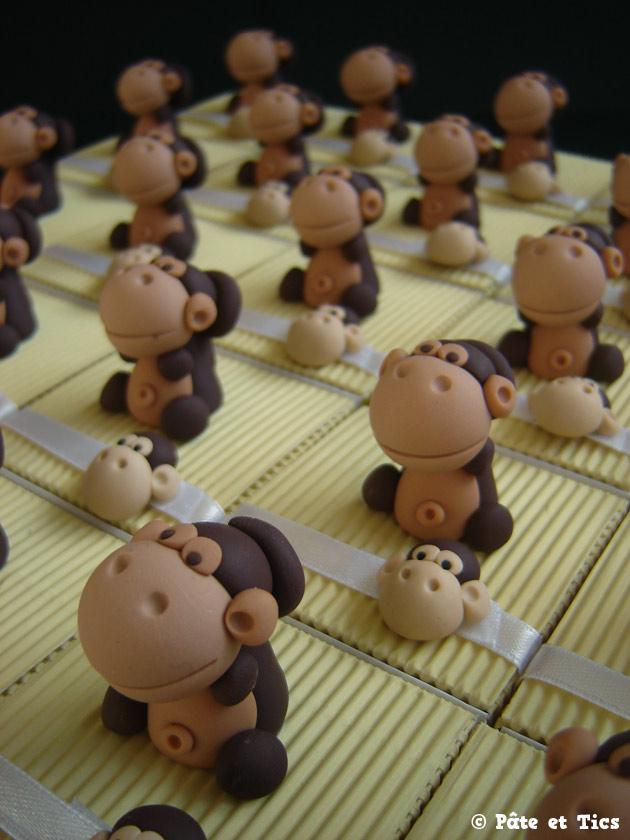 Boîtes à dragées singes chimpanzés thème jungle et savane en Afrique