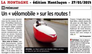 Article La Montagne vélomobile Quest Pâte et Tics à Montluçon Quinssaines