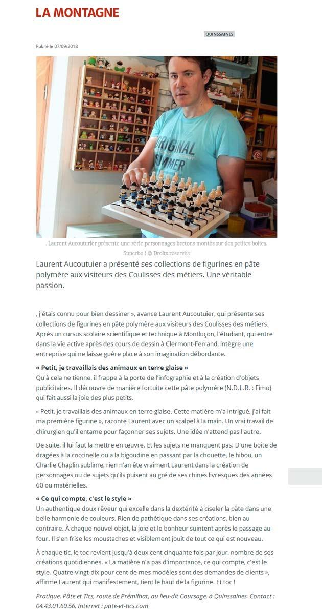 Pâte et Tics article journal La Montagne Montluçon 07 septembre 2018