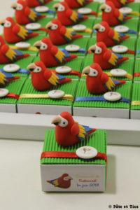 Boîtes à dragées perroquets